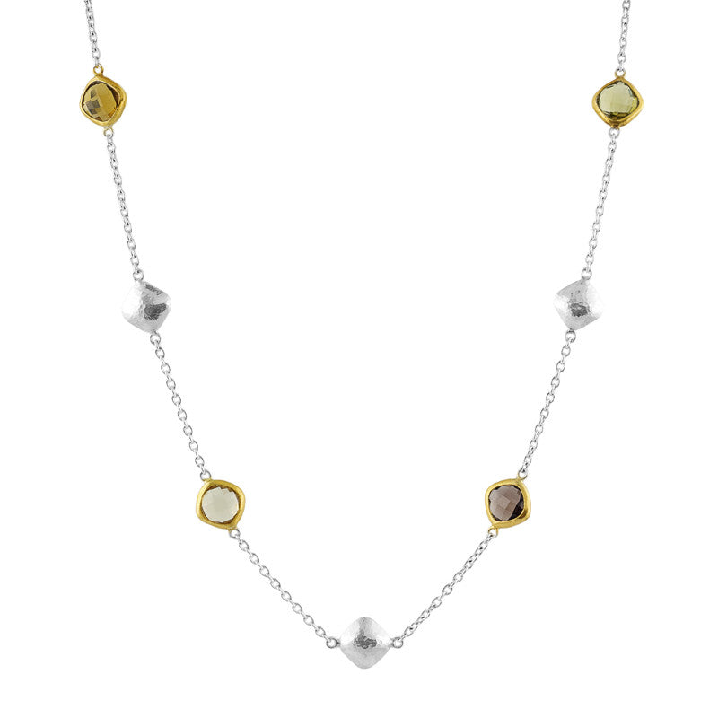 Gurhan Quartz 24K Gold and Sterling Silver Brandy Hue Necklace