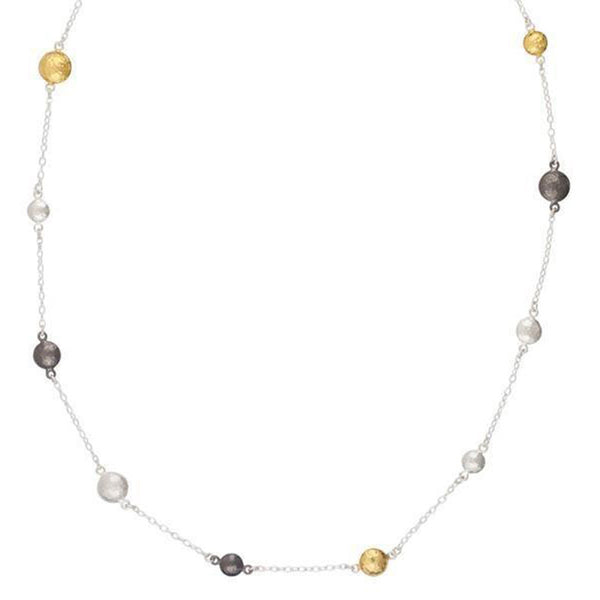 Gurhan Tri-Color 24K Gold Sterling Silver and Oxidized Sterling Silver Necklace 18 inches