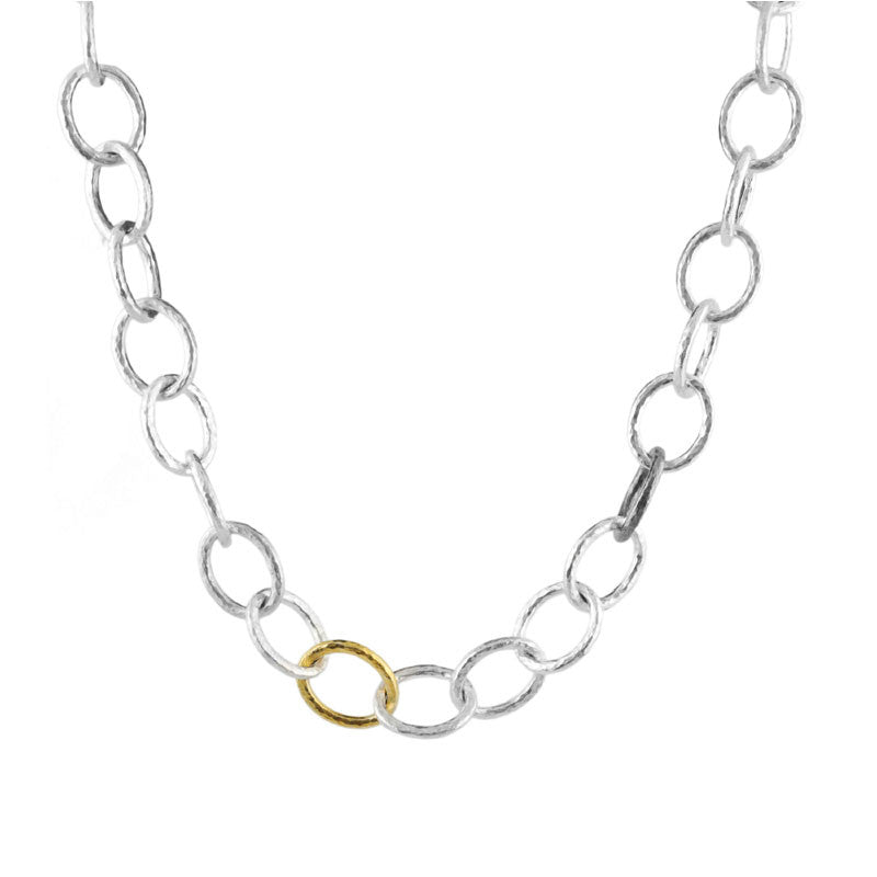 Gurhan Sterling Silver and 24K Gold Hoopla Necklace