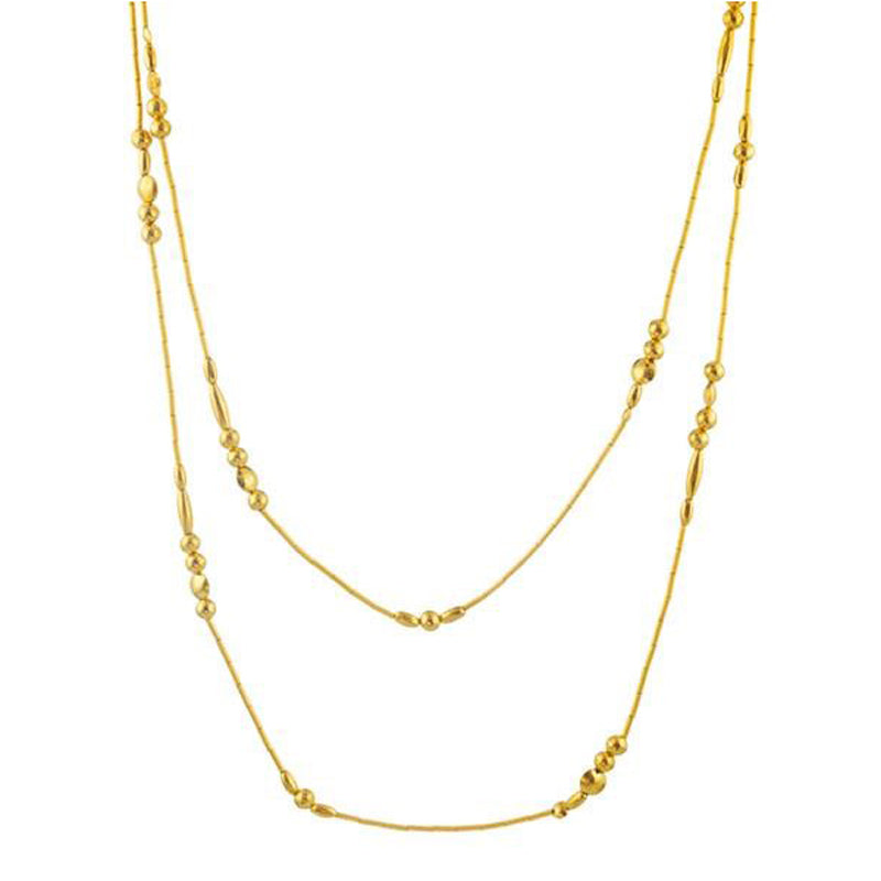Gurhan 24K Gold Single Strand Mixed Beaded Necklace