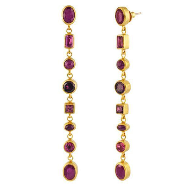 Gurhan One-of-a-Kind Long Drop Gemstone Earrings