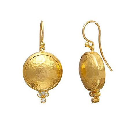 Gurhan 24K Gold and Diamond Drop Earrings