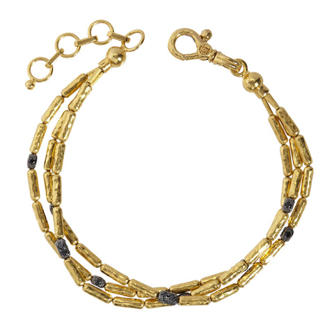 Gurhan 24K Gold and Black Diamond Triple Strand Bracelet