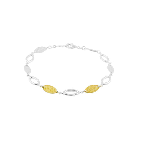 Gurhan Sterling Silver and 24K Gold Mini Willow Link Bracelet