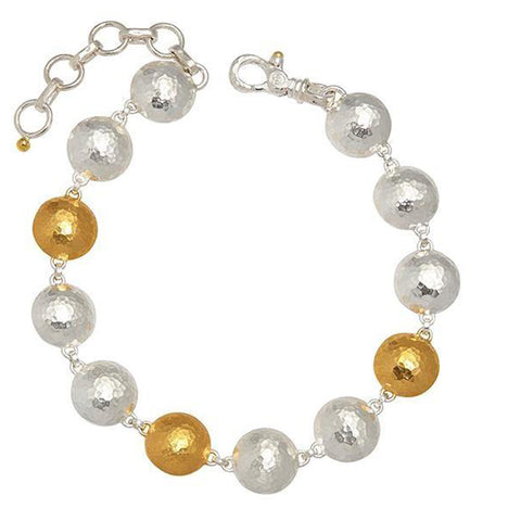 Gurhan 24K Gold and Sterling Silver Lentil Bracelet