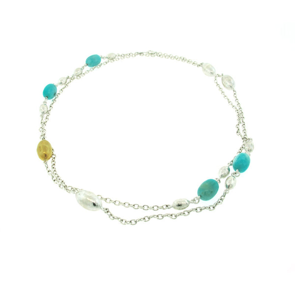 Gurhan Amazonite, Sterling Silver and 24K Gold Necklace