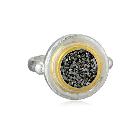 Gurhan 24K Gold Sterling Silver and Black Diamond Moonscape Ring