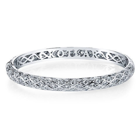 Harry Kotlar Diamond and 18K White Gold Bangle