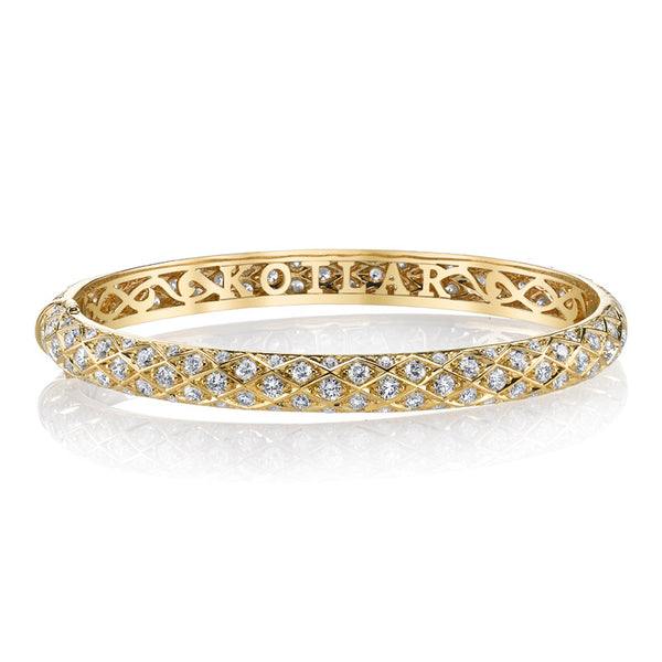 Harry Kotlar Diamond and 18K Yellow Gold Bangle