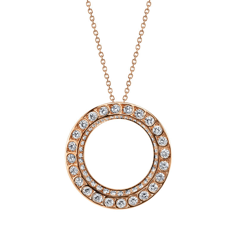 Harry Kotlar Diamond and 18K Rose Gold Circle Pendant
