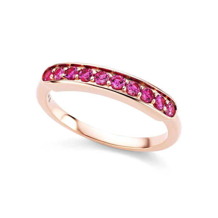 14K rose gold and pink sapphire half eterenity ring