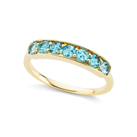 Jane Taylor Jewelry Blue Zircon Half Eternity Band