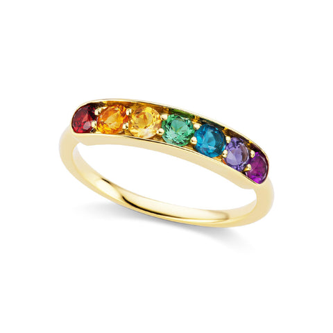 Jane Taylor Jewelry Rainbow Multi-Gemstone Half Eternity Band