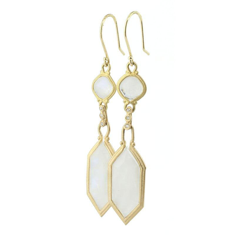 Jennifer Dawes Design Clover Moonstone and Diamond Drop Earrings
