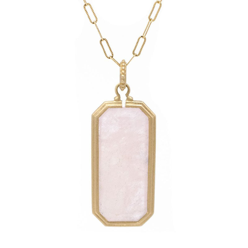 Jennifer Dawes Design Clover Emerald Cut Morganite Pendant