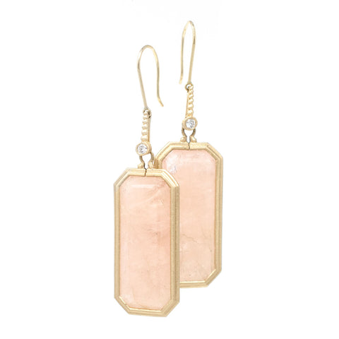 Jennifer Dawes Design Clover Morganite and Diamond Drop Earrings