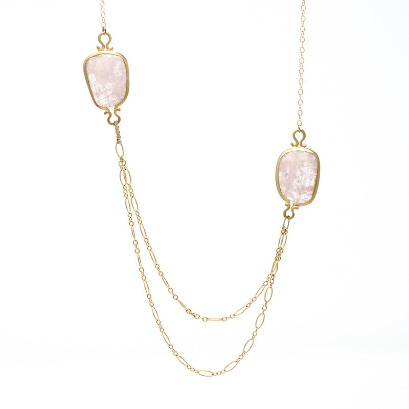 Jennifer Dawes Design Drape Morganite Necklace with two chains