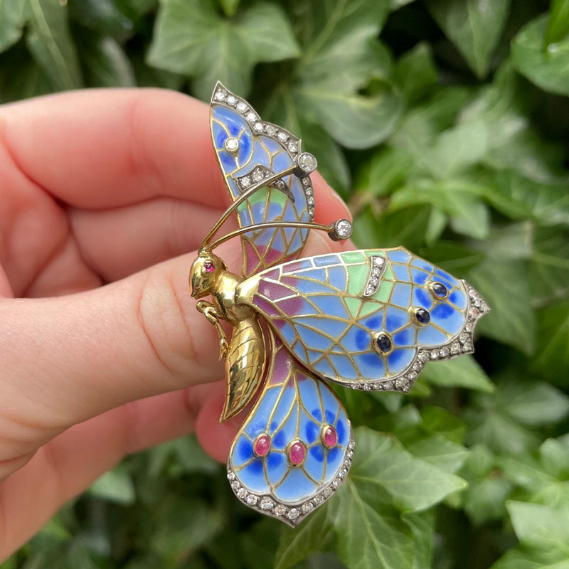 18K yellow gold large butterfly enamel brooch with diamonds, green leaf background