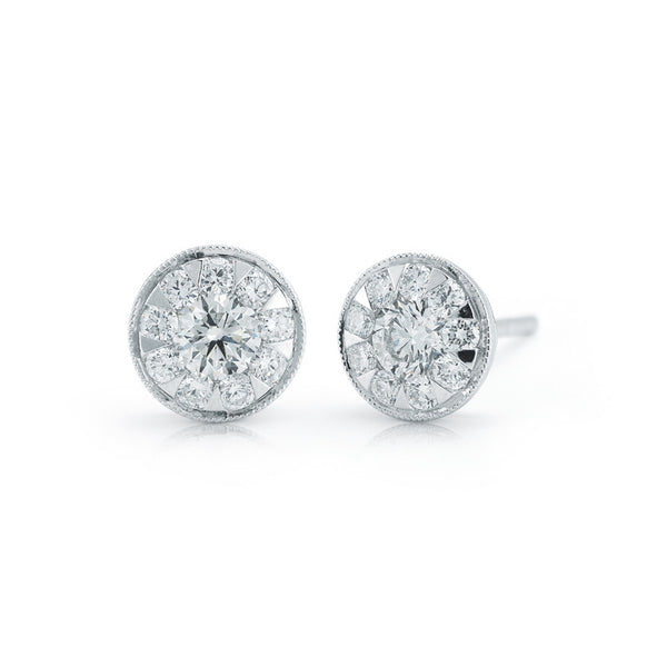 "Kwiat Diamond and 18K White Gold Stud ""Sunburst"" Earrings 0.50 ct total"