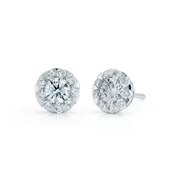 Kwiat Diamond and 18K White Gold Stud Sunburst Earrings 1.00 ct total