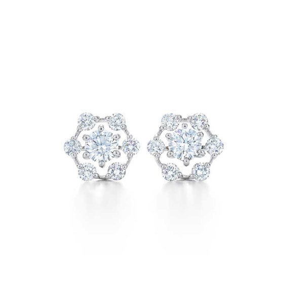 "Kwiat Diamond and 18K White Gold ""Starry Night"" Earrings resembling snowflakes or stars"