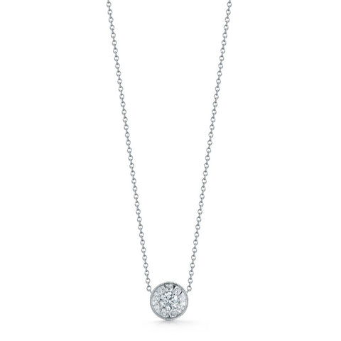 Kwiat Diamond and 18K White Gold Sunburst Pendant 0.33 ct total