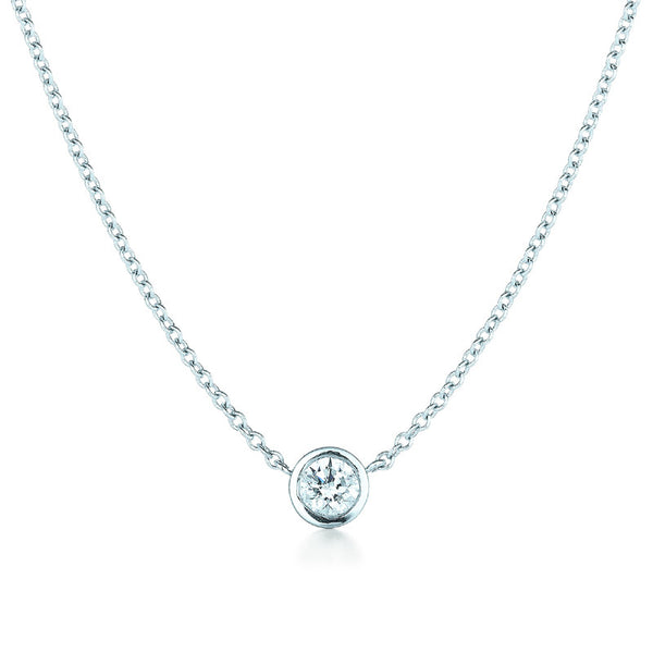 Kwiat Diamond and 18K White Gold Bezel Pendant