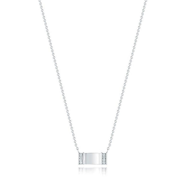Kwiat Diamond and 18K White Gold Tag Necklace