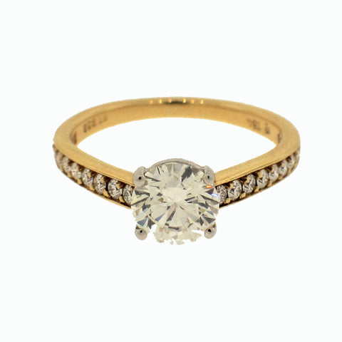Mark Patterson Diamond and 18K Yellow Gold and Platinum Ring