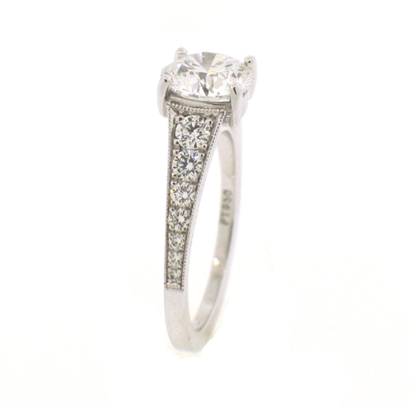 Side view of Diamond and Platinum engagement ring mounting by Mark Patterson jewelry designer
