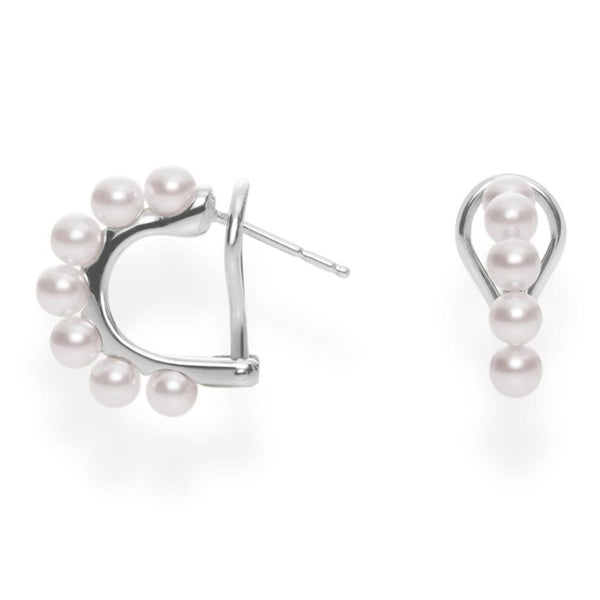 Mikimoto Akoya Cultured Pearl Huggie Earrings - 18K White Gold