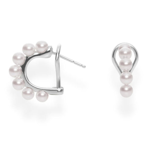 Mikimoto Akoya Cultured Pearl Huggie Earrings with Omega Backs - 18 Karat White Gold