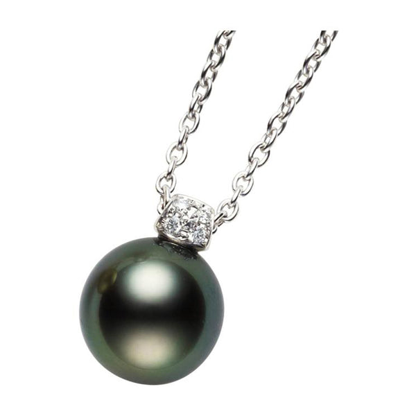 Mikimoto Black South Sea Cultured Pearl Pendant - 18K White Gold with single black pearl
