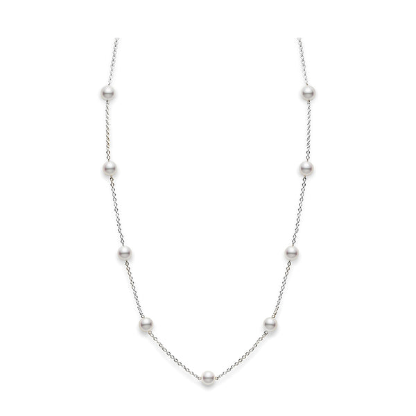 Mikimoto Akoya Cultured Pearl Station Necklace - 18K White Gold
