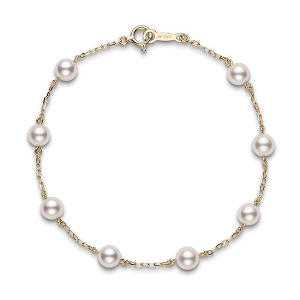 Mikimoto Akoya Cultured Pearl Station Bracelet - 18K Yellow Gold