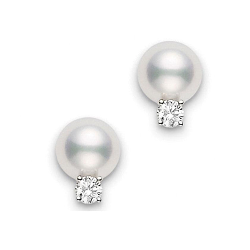 18K white gold Mikimoto Akoya cultured pearl and diamond stud earrings