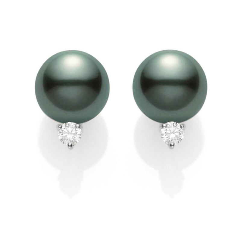 Mikimoto Black South Sea Cultured Pearl and Diamond Earrings - 18K White Gold