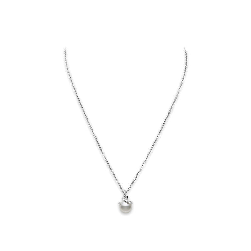 Mikimoto Twist White South Sea Cultured Pearl Pendant - 18 Karat White Gold