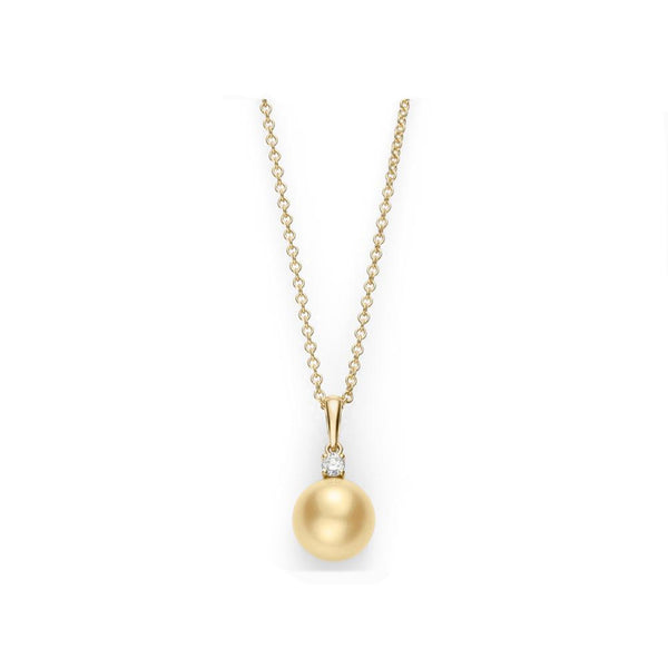 Mikimoto Golden South Sea Cultured Pearl and Diamond Pendant - 18K Yellow Gold with yellow pearl