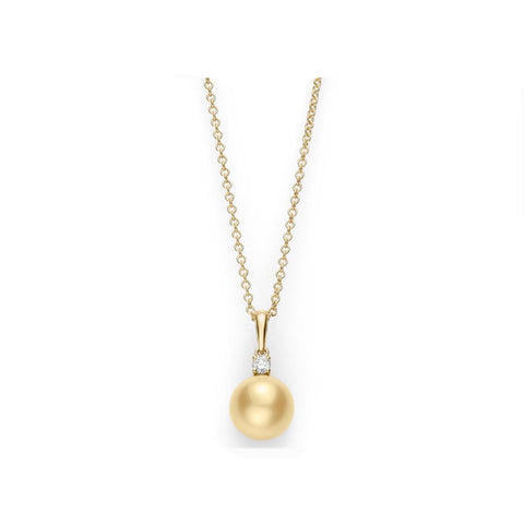 Mikimoto Golden South Sea Cultured Pearl and Diamond Pendant - 18K Yellow Gold