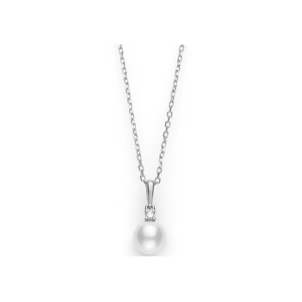 Mikimoto Akoya Cultured Pearl Diamond Pendant - 18 Karat White Gold
