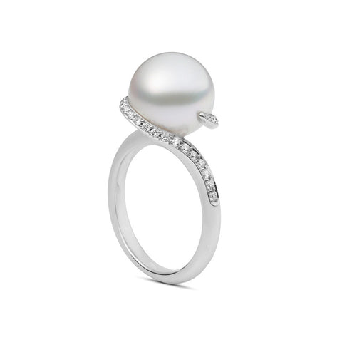 Mikimoto Twist White South Sea Cultured Pearl Ring - 18K White Gold