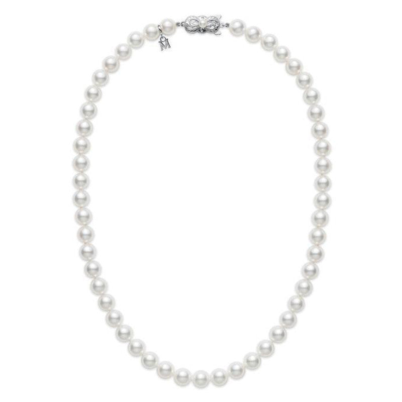 "Mikimoto 18"" Akoya cultured pearl 7.0 x 7.5mm strand with 18K white gold clasp"