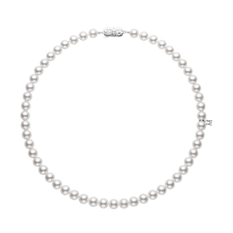 "Mikimoto 18"" Akoya Cultured Pearl necklace 7.5 x 8.0mm Strand - 18K White Gold Clasp"