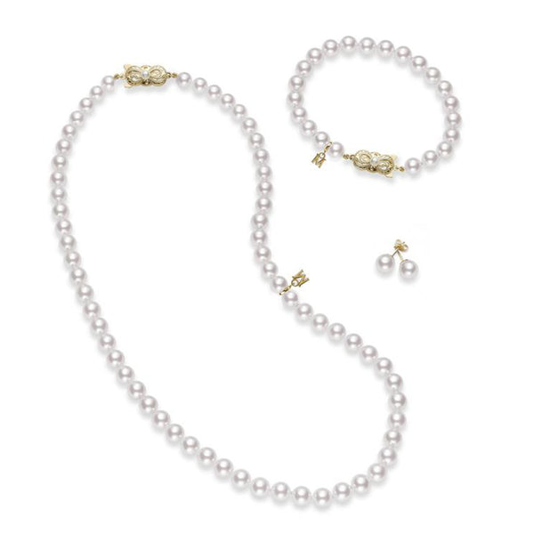 Mikimoto Akoya Cultured Pearl Three Piece Set with pearl necklace, bracelet, and earrings - 18K Yellow Gold