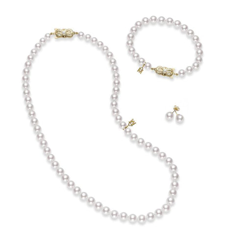 Mikimoto Akoya Cultured Pearl Three Piece Set - 18K Yellow Gold