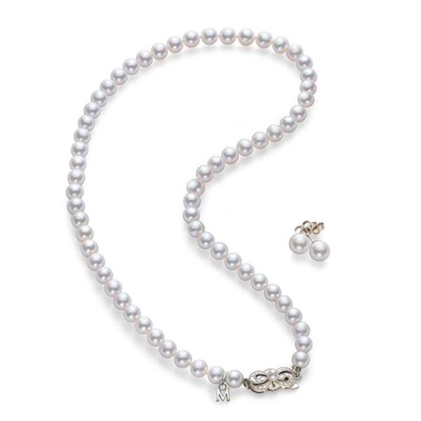 Mikimoto Akoya Cultured Pearl Two Piece Set with pearl necklace and earrings- 18K White Gold