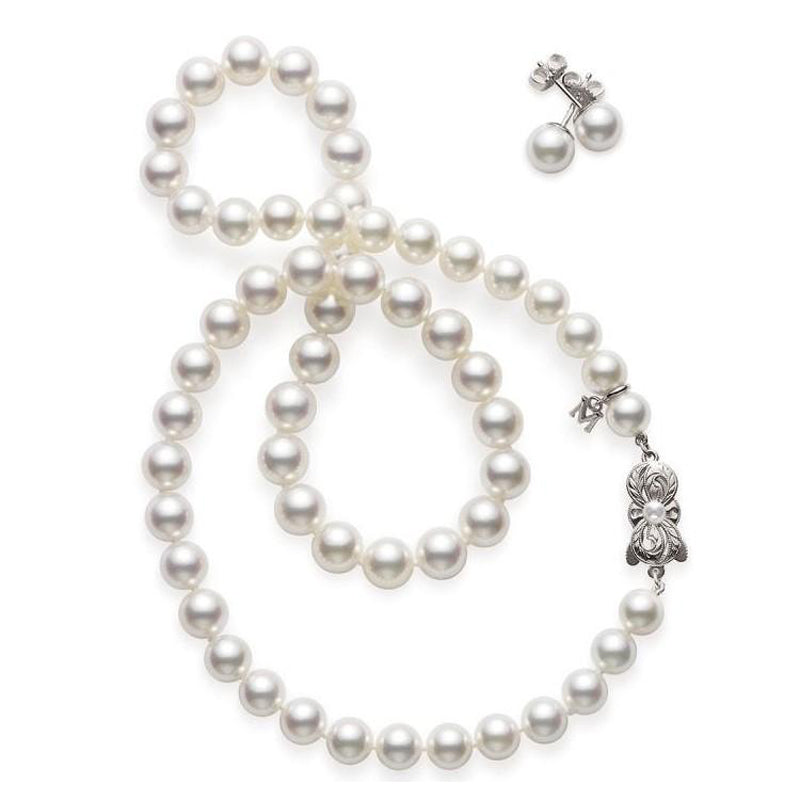 Mikimoto Akoya Cultured Pearl Two Piece Set with pearl necklace and earrings - 18K White Gold