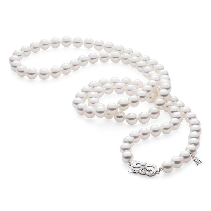 "Mikimoto 32"" Akoya Cultured Pearl necklace 7.0 x 8.0mm Strand - 18K White Gold Clasp"
