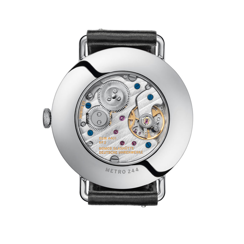 Nomos Metro Datum Gangreserve Stainless Steel (back of watch) Ref. 1101
